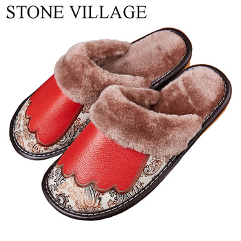 Genuine Leather Slippers Women New Indoor Shoes Home Slippers Soft Bottom  Wood Floor Non Slip Warm Plush Cotton Men Slippers 2