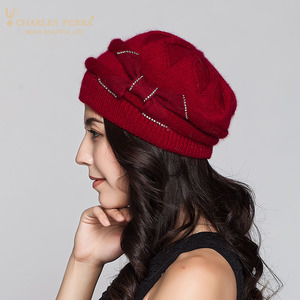 Image 4 - Charles เพอร่าผู้หญิงถักหมวกฤดูหนาว Thicken Double Layer Elegant Casual กระต่าย Hair Blend หมวกผู้หญิงหญิง Beanies D304
