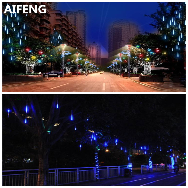 AIFENG 20cm/30cm Meteor Shower Rain Tubes Led Light Lamp EU US Plug Christmas String Light Wedding Garden Decoration 8 tubes