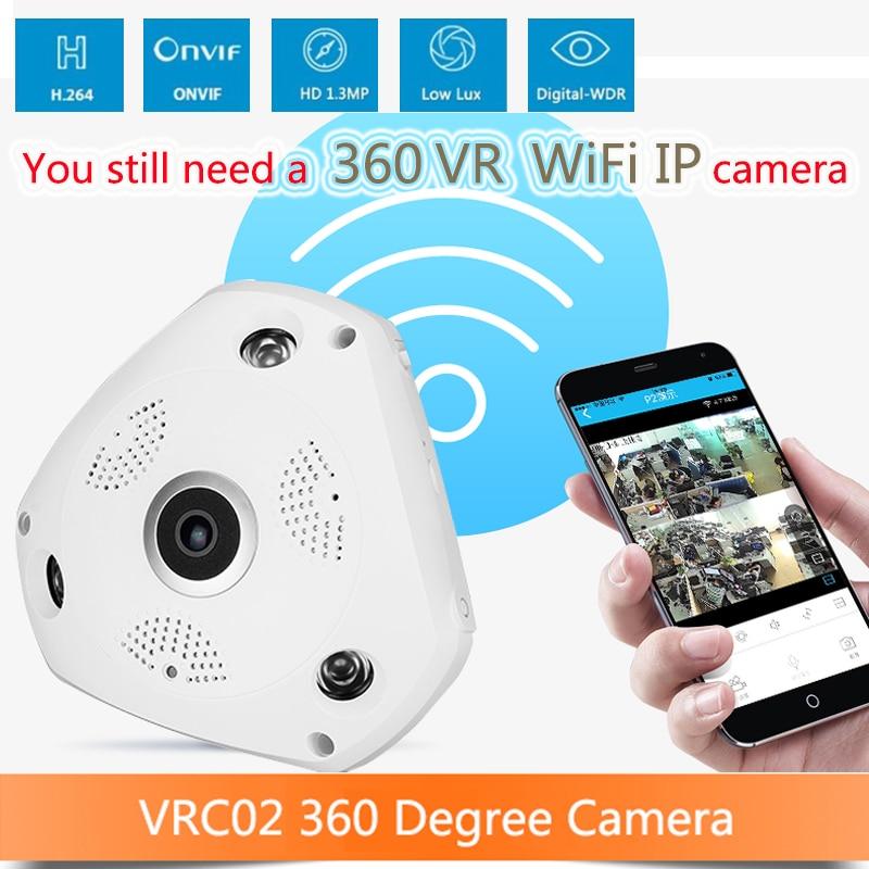 960P 360 3D font b VR b font Cam WIFI IP Camera Fisheye Lens SD Card