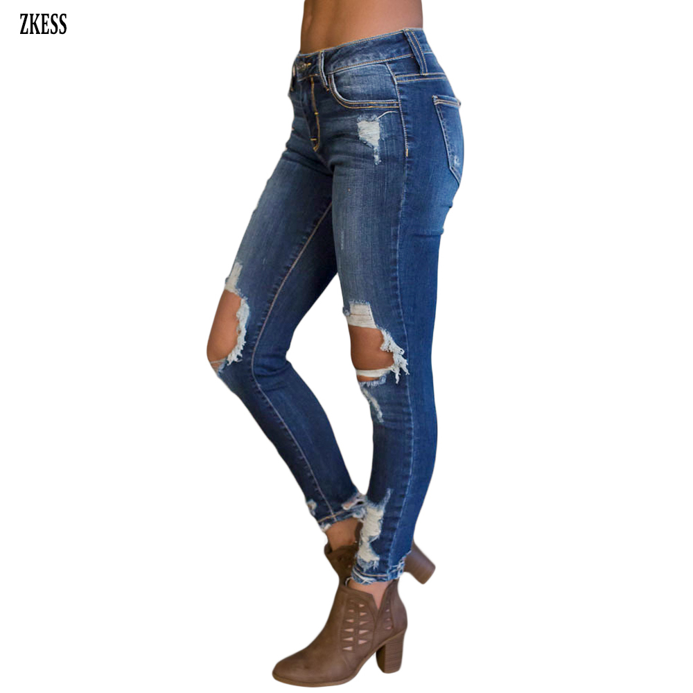 Zkess Woman New Dark Blue Destroyed Hole On Knee Skinny Jeans Fashion Casual Button Pencil Pants Bottoms With Pockets Lc786024
