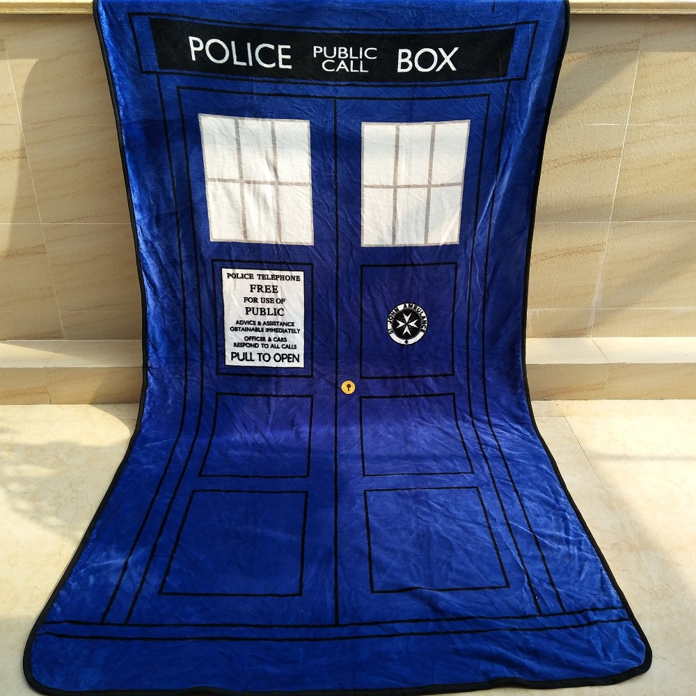 Free Shipping Doctor Who Dw Tardis Police Box Throw Blanket Coral Fleece Home Sofa Blanket Limpid In Sight