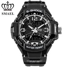SMAEL Brand Watch Dual Time Wristwatch Waterproof LED Digital Sport Watches Men Quartz Clock relogio masculino Best Gift  WS1363