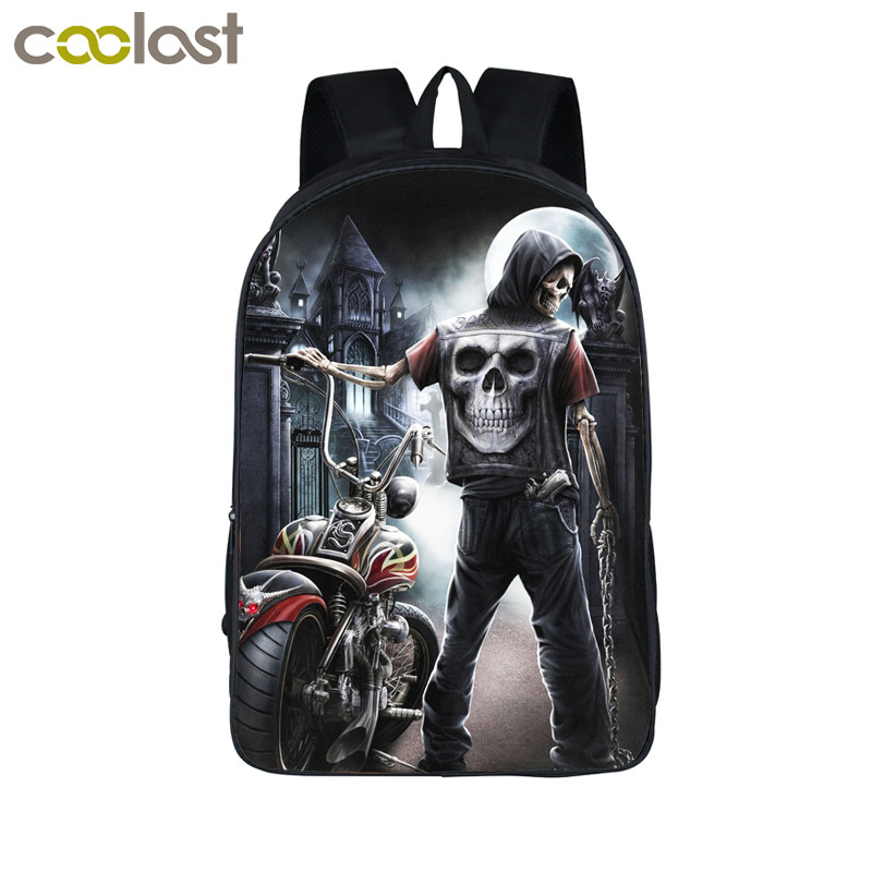 Cool Gothic Grim Reaper Skull Backpack For Teenagers Men Women Travel Bags Boys Girls Children School Backpack Bags Best Gift wiwu thunderbolt usb 3 0 for macbook pro air type c hub 5 in 1 usb hubs notebook computer cable for macbook 12 hub connector usb
