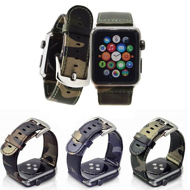 Кожаный Ремень Камуфляж Замена Apple Watch Band Ссылка Браслет с Металлической Пряжкой Для Apple iWatch 38 мм и 42 мм Зеленый
