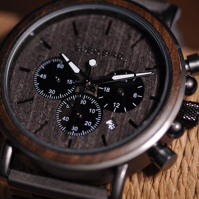 BOBO BIRD Luxury Wood Stainless Steel Men Watch Stylish Wooden Timepieces Chronograph Quartz Watches relogio masculino W-Q26