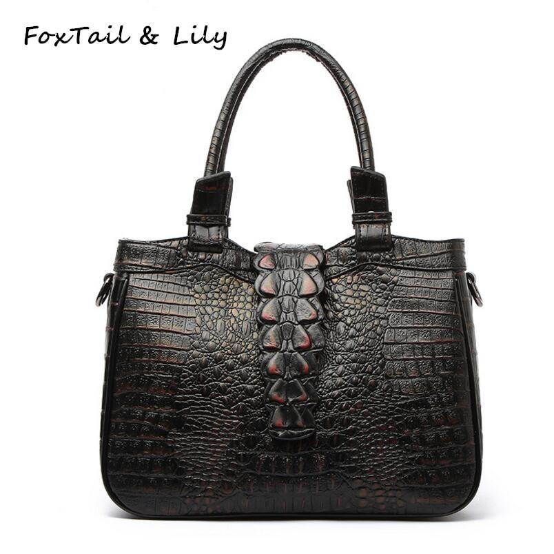 FoxTail & Lily Classic Crocodile Pattern Genuine Leather Handbags Ladies Shoulder Messenger Bag Fashion Designer Crossbody Bags