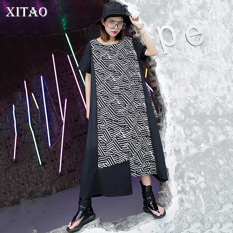[XITAO] Europe 2018 New Summer Fashion Women Geometric Pattern Print Big Pocket Dress Female Short Sleeve O-Neck Dress KZH2234 ...
