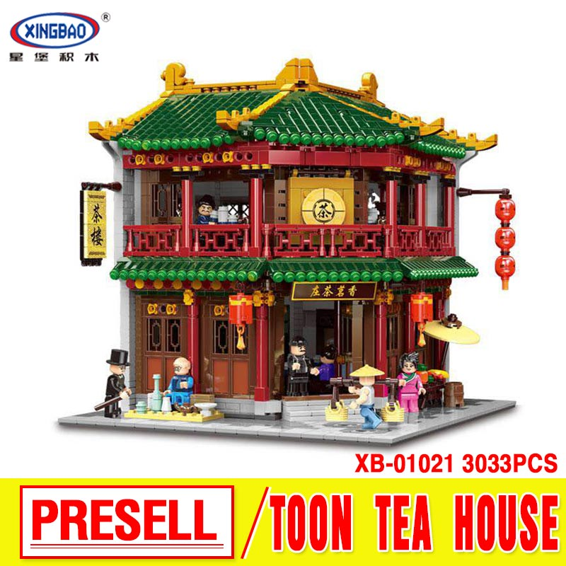 XINGBAO 01021 New Toys 3033Pcs Chinese Building Series The Toon Tea House Set Building Blocks Bricks Kids Toys Birthday Gifts