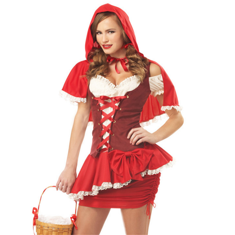 Halloween fairy tale sexy Little Red Riding Hood Dress red queen cosplay Costume Carnival Christmas Masquerade party costumes