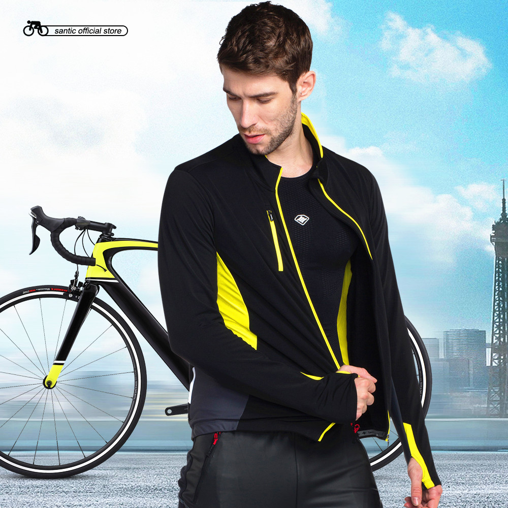 Santic Men Cycling Jackets Multiple Fabrics Black-Yellow Keep Warm Autumn Winter Cycling Clothings KC6103Y santic black