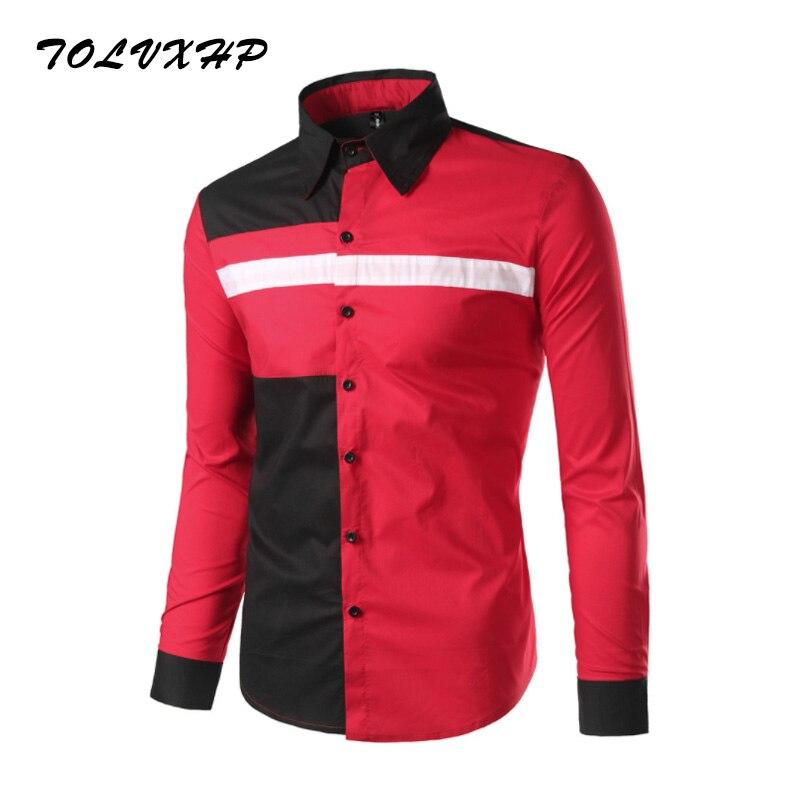 TOLVXHP Brand 2018 Fashion Shirt Male Hit Color Dress Shirts Slim Fit Turn-Down Men Long Sleeve Mens Hawaiian Shirt Big Sizes 2X