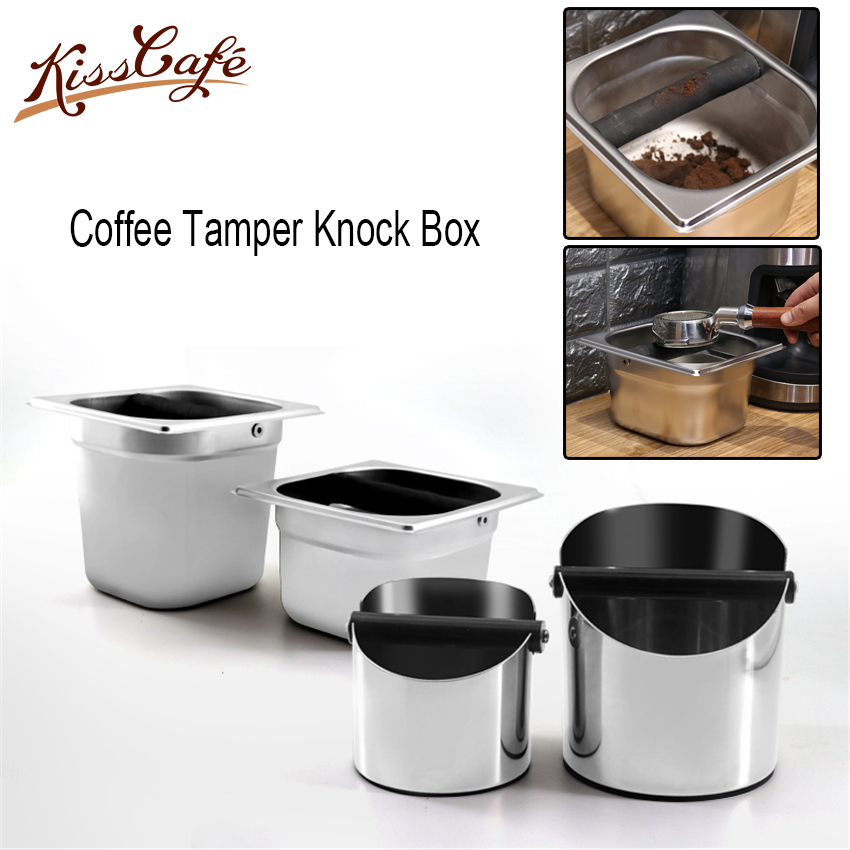 Stainless SteeThicken Coffee Tamper Knock Box Deep Bent Design Coffee Slag Isn't Splash Manual Coffee Grinder Coffee Accessories