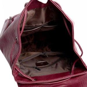 Image 5 - אופנה באיכות גבוהה רך עור נשים תרמיל גדול קיבולת בית ספר תיק לילדה מותג כתף תיק ליידי תיק נסיעות תרמיל