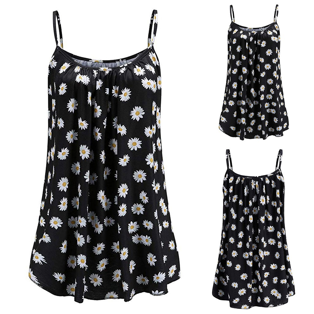 Tops Basic Tank-Top Camisole S-4xl-Support Plus-Size Womens Vest Loose Printed Sleeveless