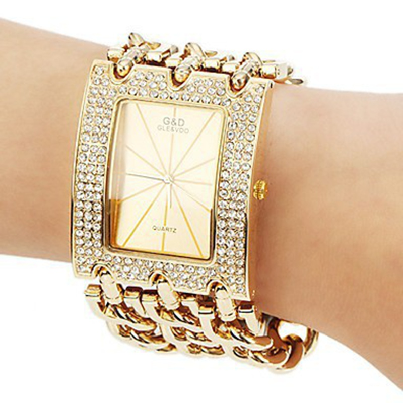 Luxury Watch Women  Relogio Feminino Big Band Crystal Gold Quartz Watches Wriatwatch  Gifts Free Ship luxury aluminum watch