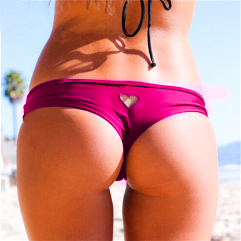 2020 Hot Women Brazilian Sexy Bikini Swimwear Thong Love Heart Cut Out Bottom Beachwear Swim Trunk T-Back Bottom Beach Pants