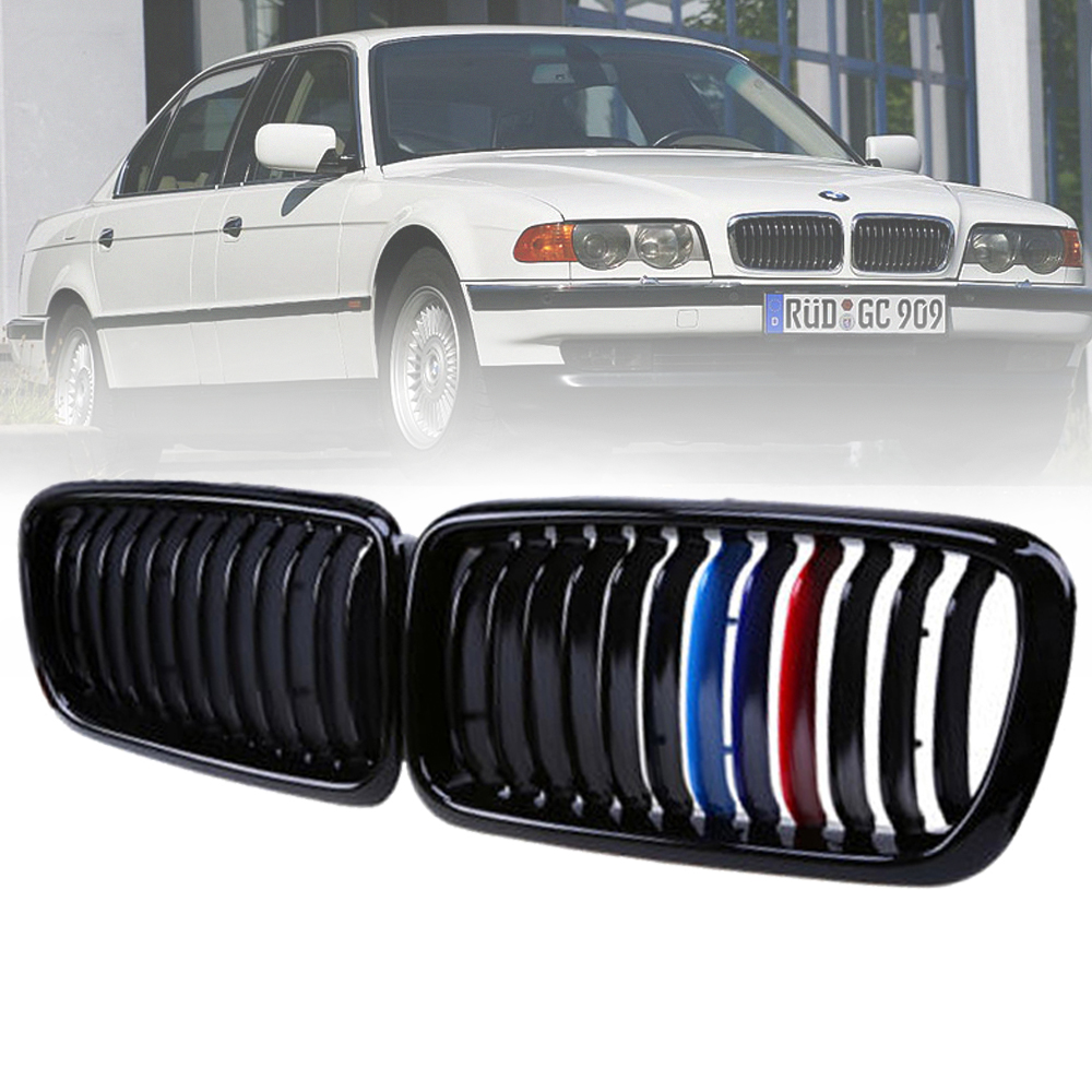 1 Pair For <font><b>BMW</b></font> 7 Series <font><b>E38</b></font> Sedan 1999-2001 Gloss Black M-color Front Kidney Car Racing <font><b>Grill</b></font> Grille Bumper Car-styling image