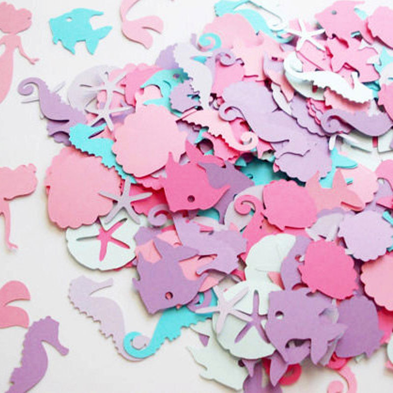 Girl Favor Mermaid Confetti Theme Decoration Seahorse 100pcs/lot Beach Party Supplies Birthday Part Decoration Colorful