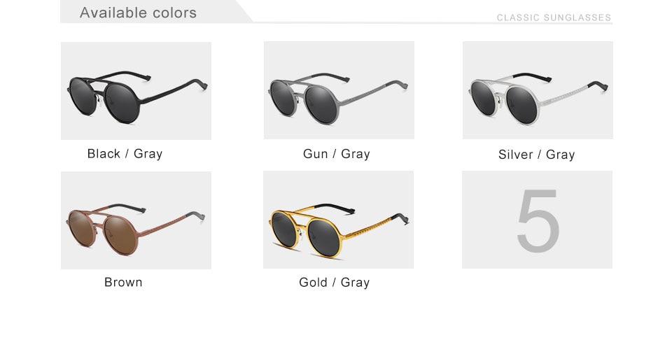 KINGSEVEN 2019 Steampunk Vintage Aluminum Sunglasses Men Round Lens Polarized Sun Glasses Driving Men's Eyewear N7576