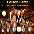 TSLEEN Retro E27 E12 E14 E26 Edison Filament Bulb Dimmable LED Light Candle/Flame Lamp High Energy Saving Long Lifespan