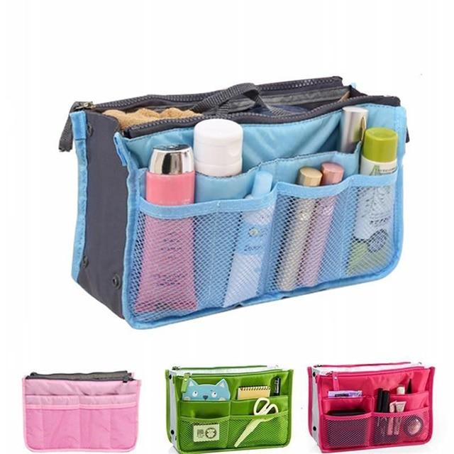 Makeup Case Travel Toiletry Kit Cosmetic Bag  Insert Bag Women Organizer Handbag Purse Lady Makeup Pouch Necessair Vanity