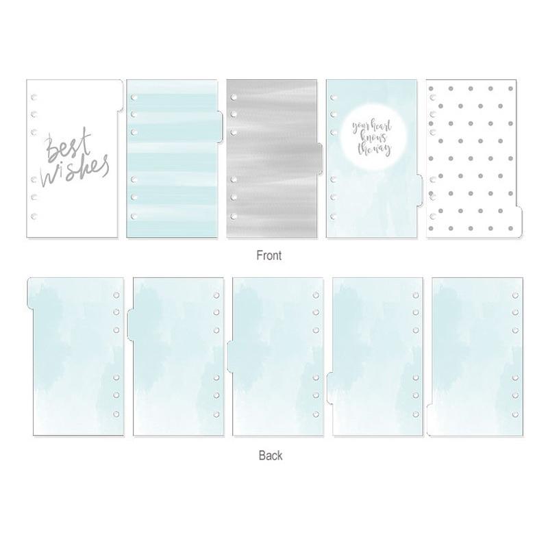 2019 Ny Dokibook Notebook Planner Tillbehör Snowflake Series Dividers A5A6A7 Innersida 5st / Set Fillerpapper för Filofax
