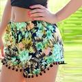 2017 Summer Floral Pom Pom Ball Shorts Women Beach Tassel Bohemian National Wind Print Loose Women's Short Feminino Plus Size XL