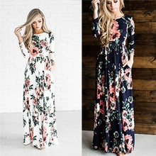 2018 summer new Europe chic casual fit and flare print three quarter pockets floor-Length regular empire bodycon dress