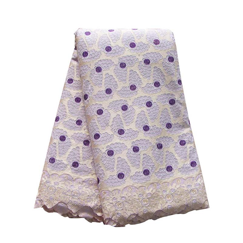 African Cotton Lace Fabrics Beautiful For Women Big Cotton Fabric 082 Lilac Swiss Voile With Stone