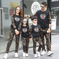 Family Suits 2pcs Clothes+pant Camouflage Letter for Dad Mom Kids Family Matching Clothing Student Clothes Outwear New Style