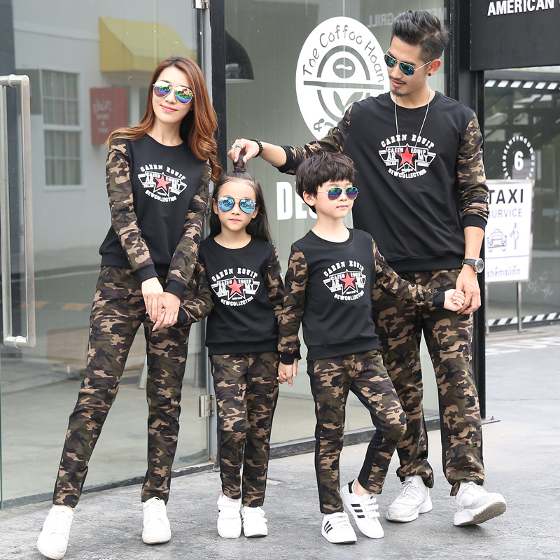 Family Suits 2pcs Clothes+pant Camouflage Letter for Dad Mom Kids Family Matching Clothing Student Clothes Outwear New Style 2pcs set mom