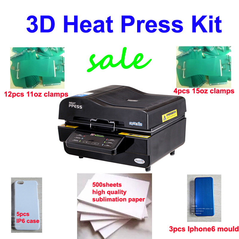 цена на Free shipping 3D Heat Press Kit 3d vacuum multifunctional sublimation heat press t-shirt iphone case mug printer 110v/220v