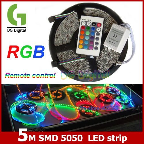 5M/lot  flexible SMD 5050 colorful LED Strip Light Strip with remote control DC 12V