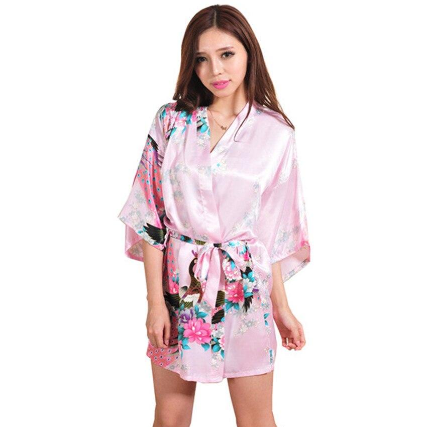 Nouvelle Arrivée Rose Chinois Femmes Soie Rayonne Mini Robe Sexy Kimono  Bath Robe Charme Intime Lingerie Pyjama S M L XL XXL XXXL bf503831835