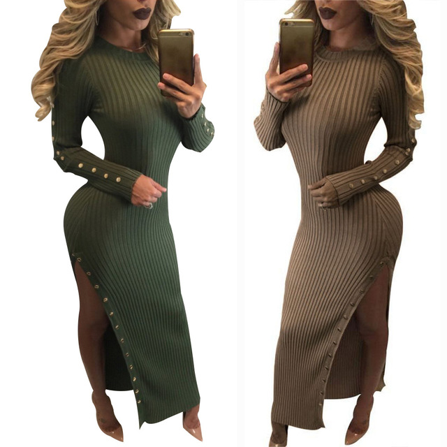 Europe And The United States Fashion Sexy Knit Dress Tight Sweater
