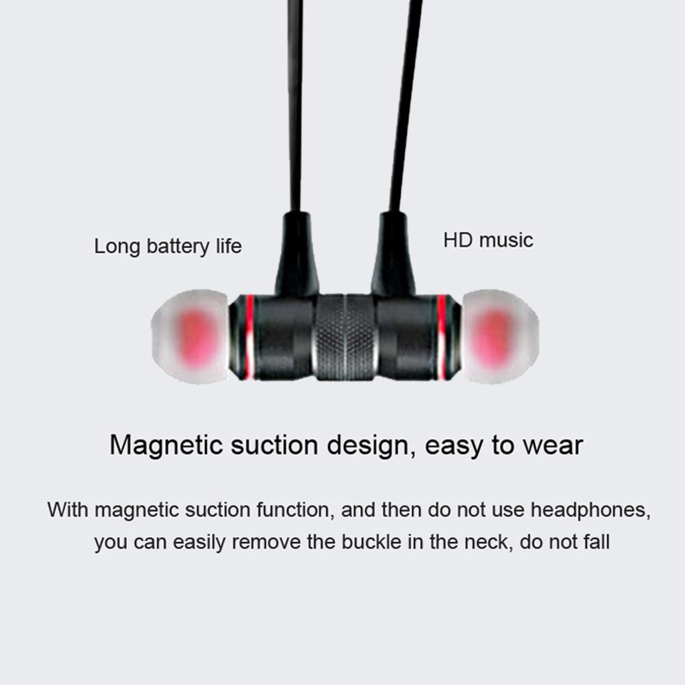 Wireless Bluetooth Earphones Sport Running Headphones Metal Magnetic Headset Stereo Bass Earbuds Handsfree With Mic