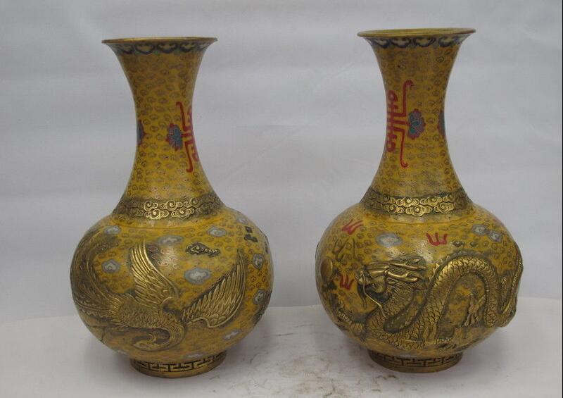 China Bronze Copper Cloisonne Dragon Phoenix Pot Flask Bottle Enamel Vase Pair|vase bottle|vases pots|vases china - title=
