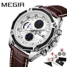 ผู้ชายนาฬิกาแบรนด์หรู 2019 Megir ธุรกิจผู้ชายนาฬิกาข้อมือสายหนังนาฬิกาผู้ชาย Sport Chronograph นาฬิกา Man 2019