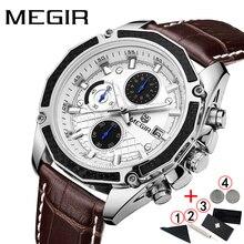 Zegarek męski 2019 luksusowa marka Megir biznes męskie zegarki na rękę skórzany pasek zegar mężczyźni Sport Chronograph zegarki człowiek 2019
