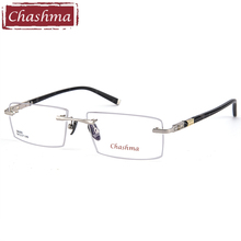цены Chashma Brand Titanium Alloy Eyeglasses Rimless Ultra Light Myopia Optical Frame Prescription Glasses Frames for Men