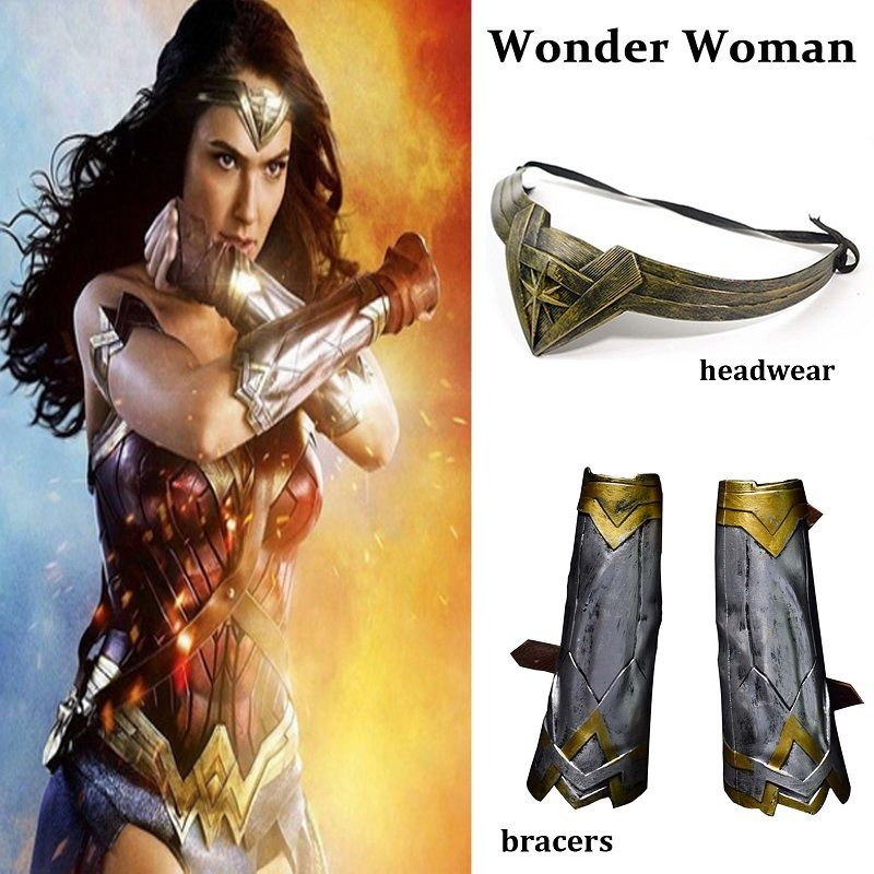 2017 Wonder Woman Wristbands Bracers Gauntlets Gloves Headwear Headband Bracelet Set Costume Movie Cosplay Props Accessories