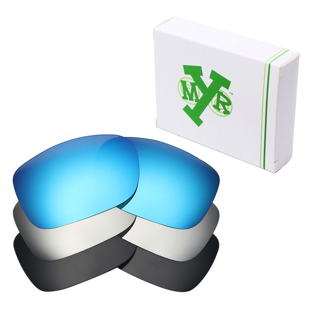 3 Pairs Mryok Replacement Lenses for Oakley Two Face Sunglasses Stealth Black Ice Blue Silver Titanium