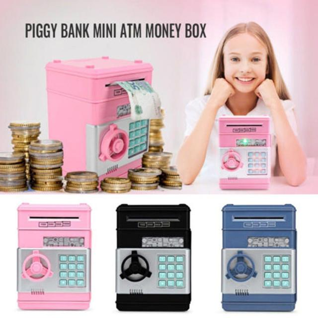ATM automatic roll money piggy bank Electronic Pig Bank ATM Password Money Box Cash Coins Saving Box Bank Safe  for Children #T