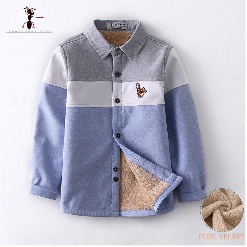 Kung Fu Ant Brand Original Autumn Winter Embroidery Warm Plush Boys Shirts 3T-10T High Quality Cotton  Warm Children's Shirts