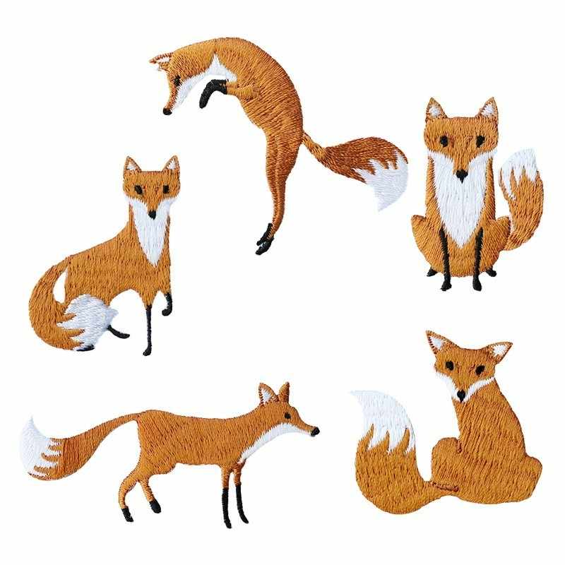 New 1 Piece Embroidered Cute Fox Animal Patches Clothes Bags DIY Applique Embroidery Parches Iron On Patch for Clothes