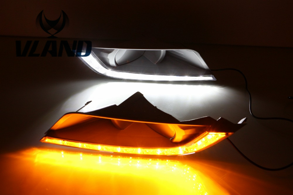 Free shipping vland factory  for Ford Ranger 2015-2016 Daytime Running Light with yellow turning light ! plug and play design free shipping chinese factory custom 2015 100