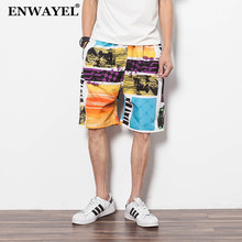ENWAYEL 2018 Summer Loose Flowers Print Casual Board Shorts Men Quick Dry Trousers Male Straight Short Beach Mens Clothing DK11(China)