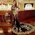 Sereia Preto Vestidos de Baile de manga Longa Africano de Ouro de alta Pescoço Apliques Sexy elegante vestidos de formatura Z866