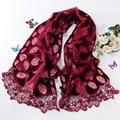 Moda 2015 nuevo de punto ahueca hacia fuera Rose Red de lentejuelas bufanda de invierno para mujeres